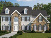 Alternate elevation of stone and siding for the Clifton model home.