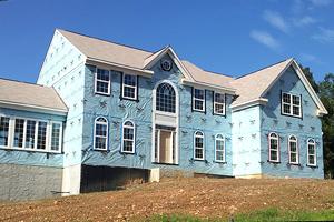 Custom home under construction.