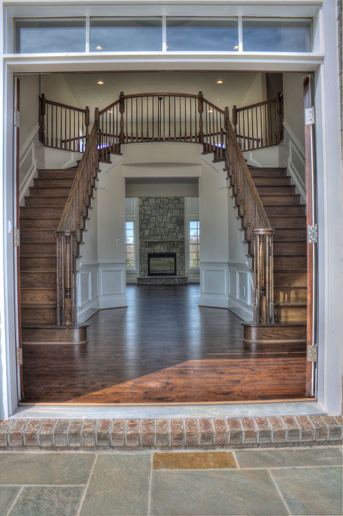 Looking in the front doors of a Remington model home.