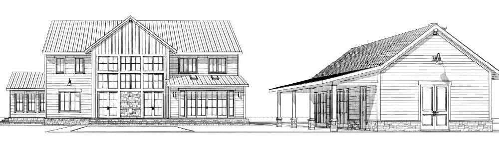 The rear exterior of a custom Farmhouse with pool house, good outdoor living example
