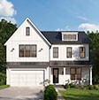 Exterior rendering of white farmhouse style custom home in bethesda