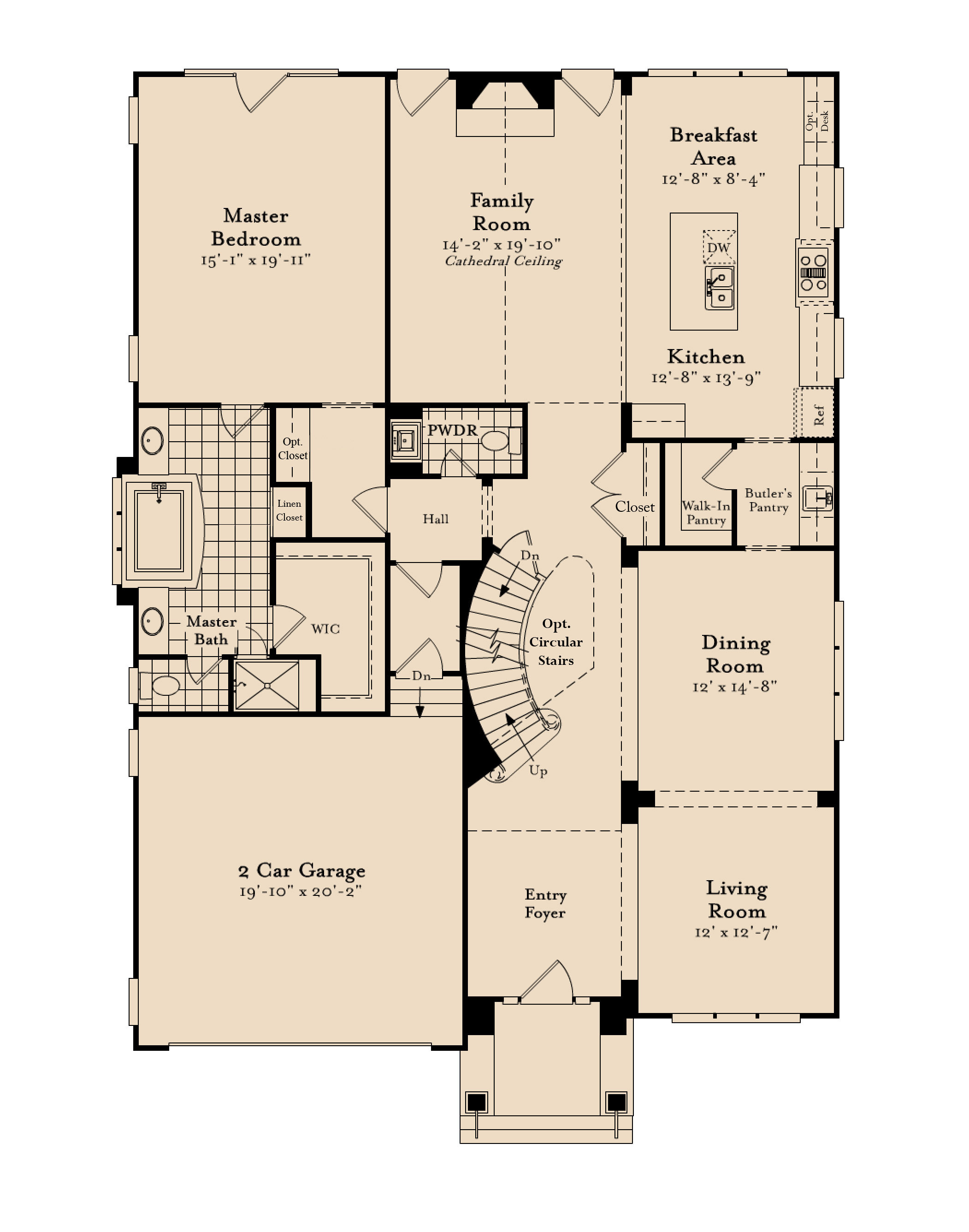 The first floor plan for the Alexandria model home.