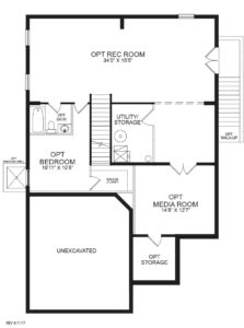 Optional finished basement plan for the Charlotte model home.