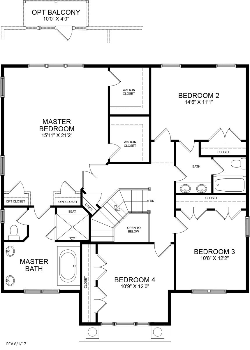 The second floor plan for the Chatham model home.