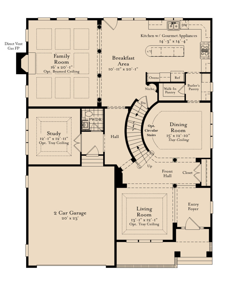 The first floor plan for the Columbia model home.