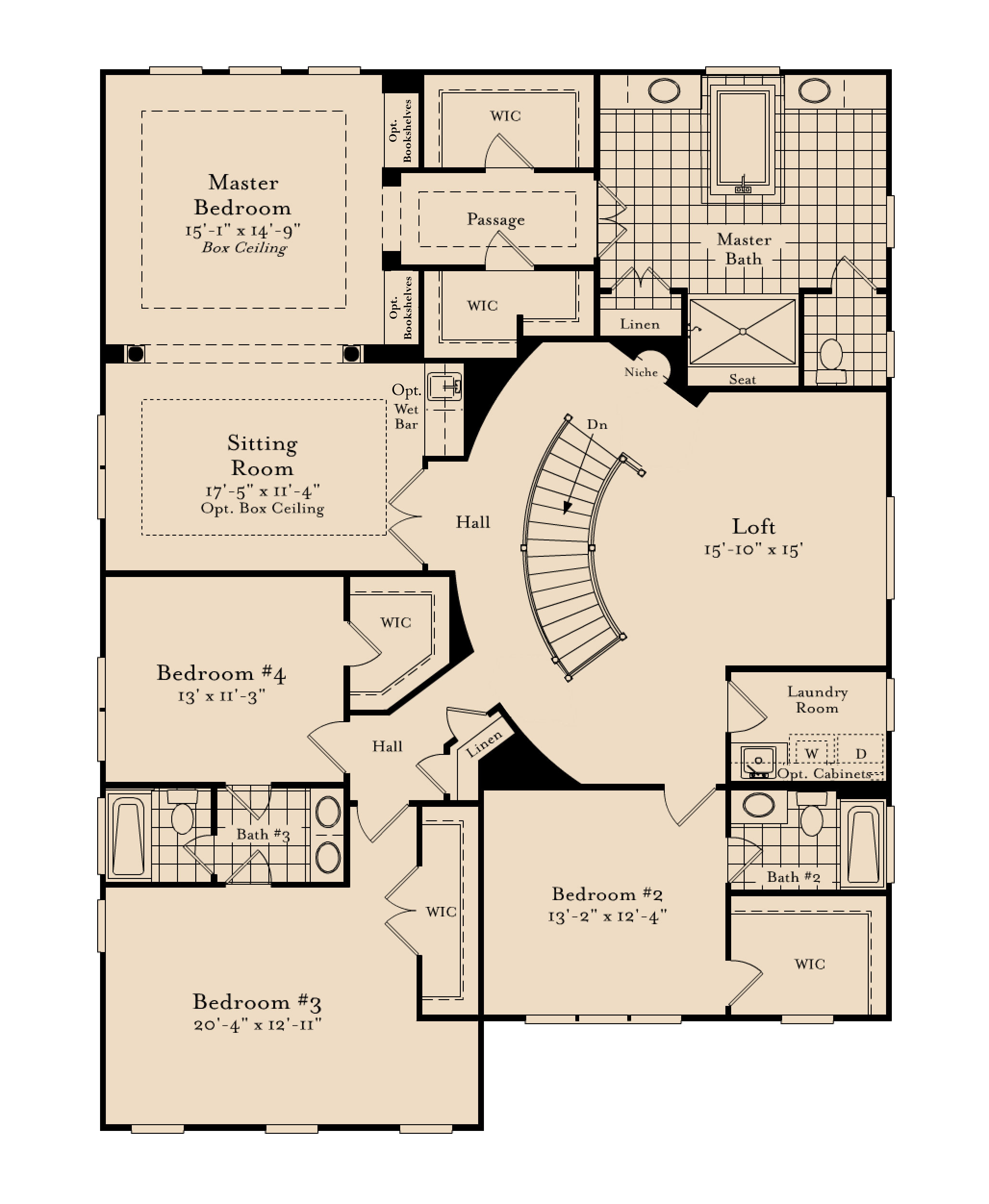 The second floor plan for the Columbia model home.