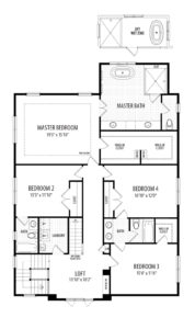 Second floor plan for the Darcy Model home.