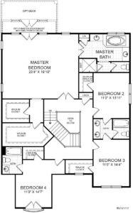 Second floor plan for the Lily Stone model home.