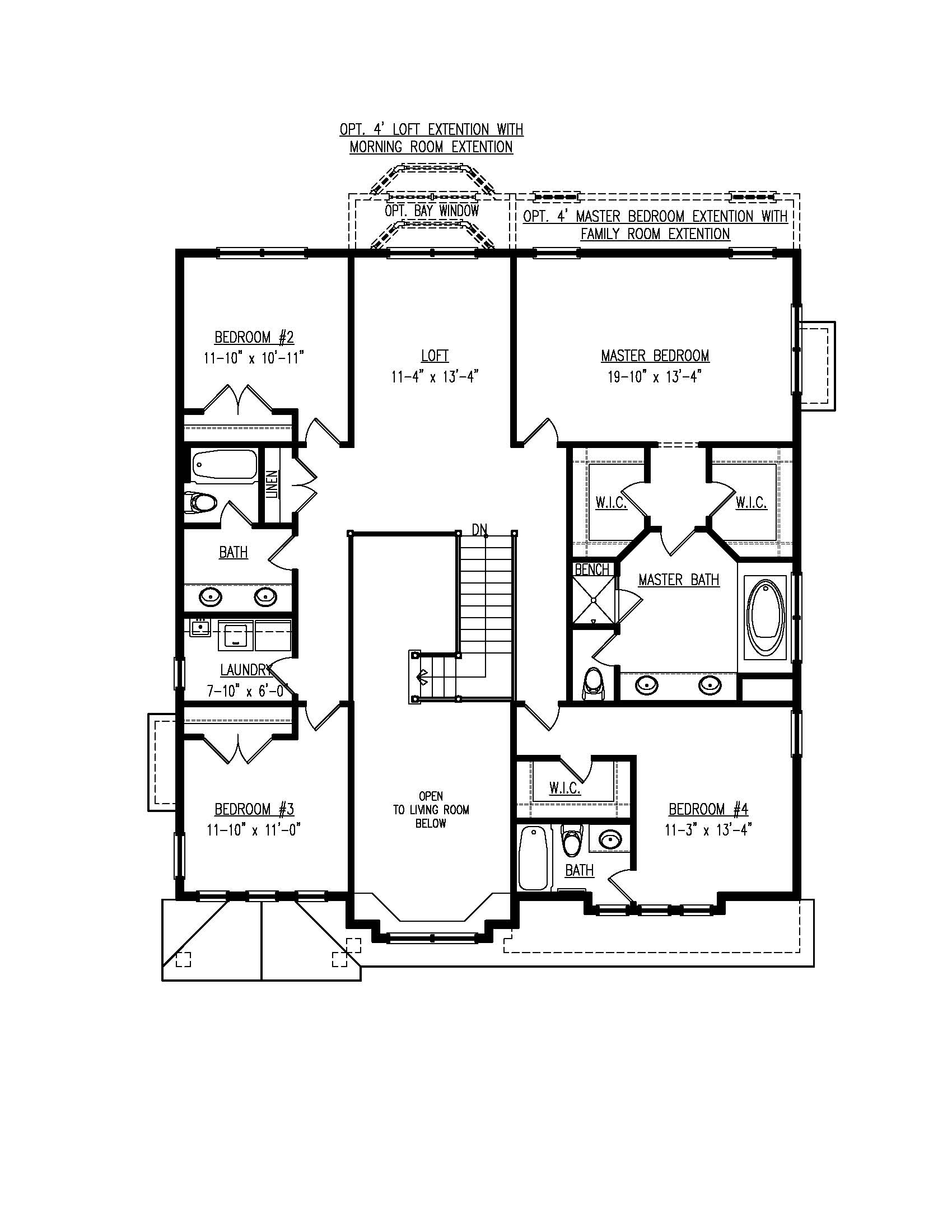 Second floor plan for the Mayberry model home.