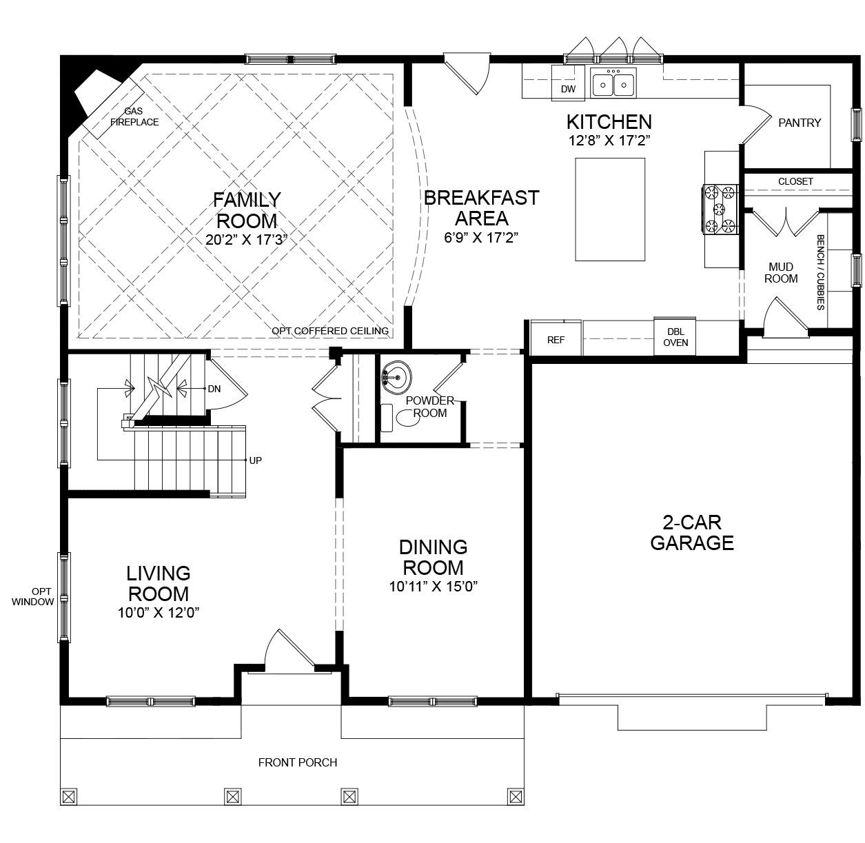 First floor plan for the Marlyn model home.