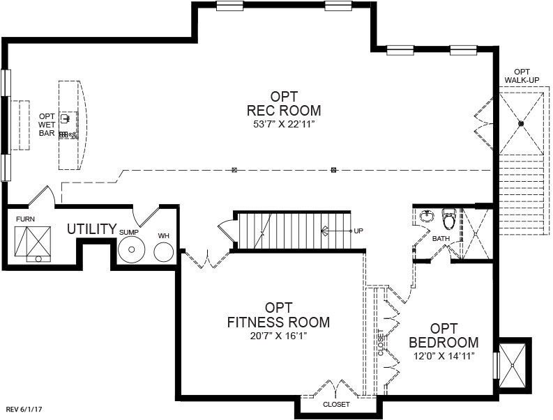 Optional finished basement plan for the Winston model home.