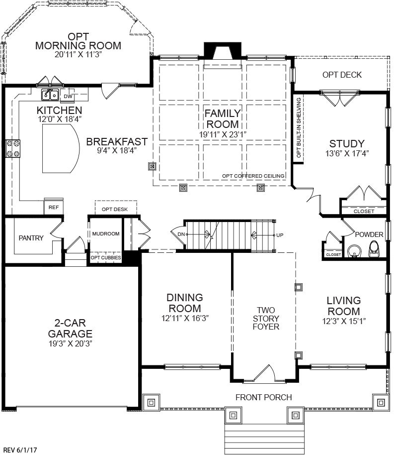 First floor plan for the Winston model home.
