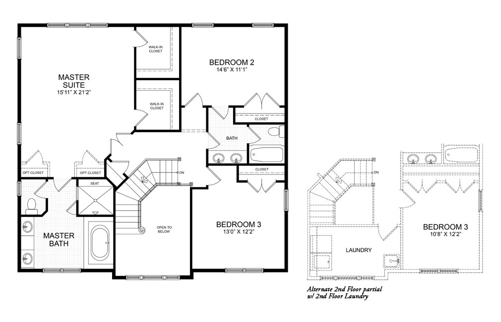 The second floor plan for the Chatham II model home.